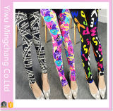 Wholesale 2016 European and American Printed Flowers Yards Stretch Leggings