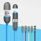 USB Cable Noodles Flat Data Cable 2-in-1 for Ios/Samsung