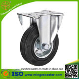 Industrial Fixed Plate Black Rubber Caster Wheel