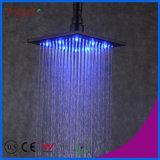 Fyeer 8 Inch Square Black Self-Power LED Rain Shower Head