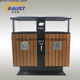 Side Opening Outdoor Wooden Recycling Trash Receptacles Dustbin, Rubbish Barrel