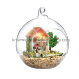 New Arrivals 2017 Handmade Beautiful Wooden Toy DIY Dollhouse with Glass Ball Best Birthday Gift