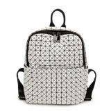 White PU Rhombic Geometry Small Size Backpack Bag (A097-11)