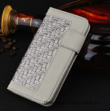 Woven PU Leather Wallet Phone Case with Card Slot for iPhone