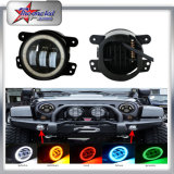 "4"" Inch CREE Front Bumper LED Fog Lights 6000k White Halo Ring Angel Eyes for Jeep Wrangler Jk Tj Lj Cj Dodge Chrysler Cherokee W/9005/9006 to H16 Conversion"