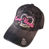 Heavy Washed Baseball Caps with Heart Logo Gjwd1718