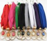 Women Solid Cotton Scarf Jewelry Necklace Rivet Pendant Scarves Shawl Wraps