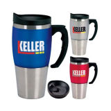 Stainless Steel Car Mug with Plastic Handle and Lid