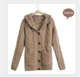 Women′s Knitting Jumper Hoodie Sweater Long Style Factory