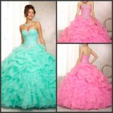 Blue Pink Ball Gowns Organza Puffy Quinceanera Prom Dress H14924