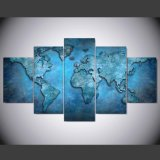 5 PCS/Set Printed Blue Abstract Map Painting Canvas Print Room Decor Print Poster Picture Canvas Mc-060