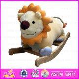 2015 Cartoon Lion Design Wooden Rocking Animal Toy, Cute Plush Rocking Animal with Sound, Playful Wooden Rocking Animal Wj277566