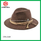 Brown100% Wool Felt Cowboy Hats with Decoration (CPA_21024)