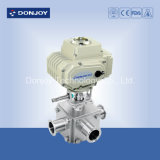 Sanitary Ss304/316L Electric 3-Way Ball Valve with Position Sensor