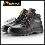 New Design Safety Shoes with Bk Mesh Cow Leather Print Palm Embossed Safety Shoes