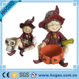 Polyresin Crafts Halloween Decoration Girl Pumpkin Figurine