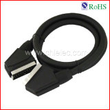21p Black PVC Jacket Male to Male Scart Cable (SY032)