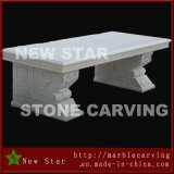 White Marble Rectangule Top Plate Stone Bench