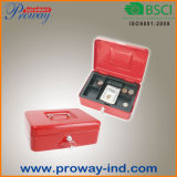 Hot Sale Portable Metal Cash Box with Removable Plastic Tray
