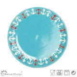 Blue Color Glaze with Silk Screen Dessert Plate