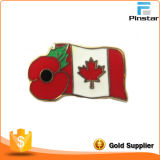 Cheap Red Poppy and Canada Flag Metal Lapel Pin