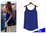 Sleeveless Loose Show Thin Chiffon Ladies Blouse Designs