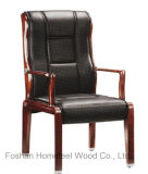 Black Leather Solid Wood Office Conference Chair (HF-CH031H)