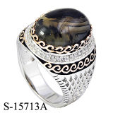 925 Silver Two Colors Plating Man Ring with Natural Agate.
