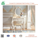 Royal White Wooden Furniture Bedroom Furniture Dress Console Table with Mirror