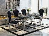 Mirror Silver Stainless Steel Marble Dining Table Set
