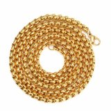 Hip Hop 18K Gold Round Box Chain Necklace Mjcn004