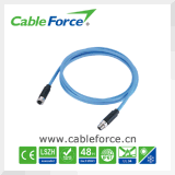 Profinet Cable M12 8pin X Coding Male to Female EMI Shielded Connector with Molded Cable