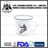 380ml Decal Printing Customized Outcoor Enamel Cup with Rolled Edge