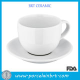 White Simple Custom Porcelain Tea Cup with Saucer