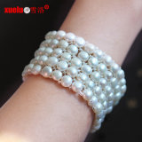 5 Rows Elastic Coin Real Pearl Bracelet Jewelry for Lady