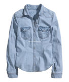 Long Sleeves Ladies Fashion Denim Shirt (S308037)