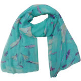 Lady Fashion Polyester Voile Spring Dragonfly Printed Scarf (YKY4209)