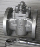 Fange End 4in PTFE Sleeve Plug Valve