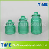 Set of 3 Spray Color Glass Jar with Glass Lid