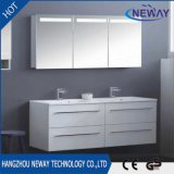 Modern PVC Wall Waterproof Bathroom Cabinet with Double Basin