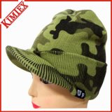 Fashion Printed Camo Knitted Brimmed Beanie with Bill
