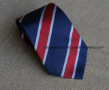 Poly Woven Navy Red White Striped Necktie for Men