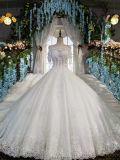 Boat Neckline Royal Train Wedding Gown