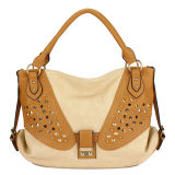 Contrast Color Rivet Fashion Lady Tote Bag