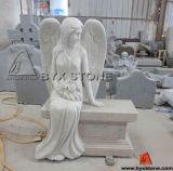 New Design Pink Granite Sitting Angel Headstone / Tombstone