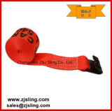 "4"" X 60' Red Winch Strap with Flat Hook"