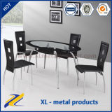 1+5 Seaters Popular 2 Tiers Oval Glass Dining Table