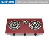 Indian Brass Cap Gas Stove with Red/Black Glass Panel