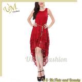 Pleat Regular Women Layered Dress with Sleeveless Lace Dress