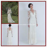 Lace Long Sleeve Bridal Gowns A-Line V-Neck Beach Wedding Dresses Rr3003
